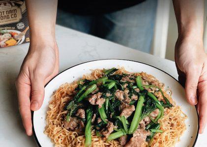 Recette Mi Xao – Nouilles sautées à la viande et aux legumes