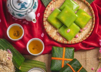 Gâteaux de jeune riz gluant pilé de Hanoi